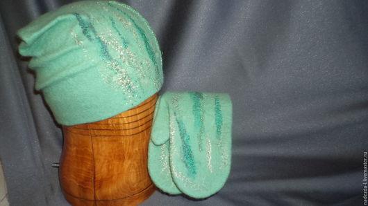 """Комплекты аксессуаров ручной работы. Ярмарка Мастеров - ручная работа. Купить Комплект валяный  """"Мятный дождь..!"""" (шапка+варежки). Handmade."""
