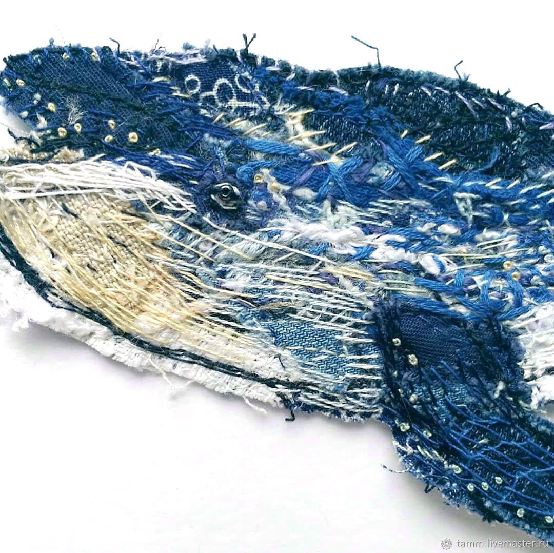 Кит - авторская нашивка (аппликация) с ручной вышивкой, Аппликации, Тверь,  Фото №1