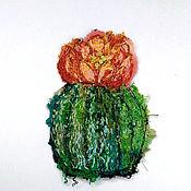 Материалы для творчества handmade. Livemaster - original item Handmade applique Blooming cactus. Handmade.