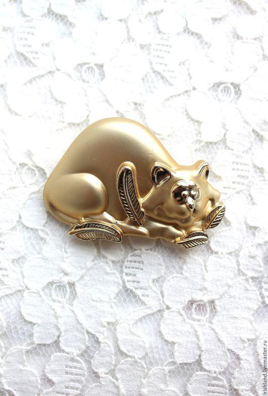 """Винтажные украшения. Ярмарка Мастеров - ручная работа. Купить A.J.C. Винтажная брошь """"Игривый котик"""", США. Handmade."""