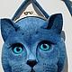 """Сумки и аксессуары ручной работы. Ярмарка Мастеров - ручная работа. Купить Сумочка """"Кот ученый.."""". Handmade. Синий"""