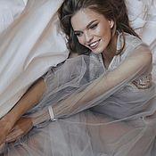 Платья ручной работы. Ярмарка Мастеров - ручная работа Серое будуарное платье для фотосессии утра невесты или беременности. Handmade.