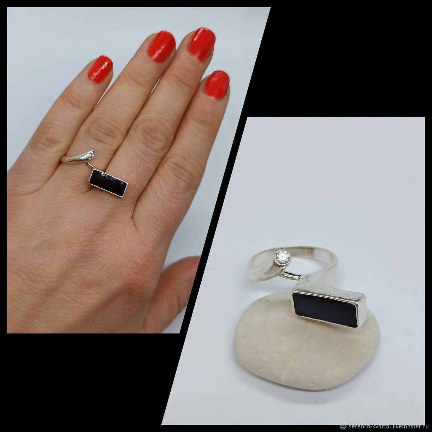 The ring is stylish with black enamel and cubic zirconia, Rings, Turin,  Фото №1