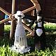 """Свадебные аксессуары ручной работы. Ярмарка Мастеров - ручная работа. Купить Наряд для свадебных бутылок """"Жених и невеста"""". Handmade."""