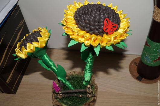 Топиарии ручной работы. Ярмарка Мастеров - ручная работа. Купить Подсолнух. Handmade. Кофейное дерево, желтый, сизалевое волокно