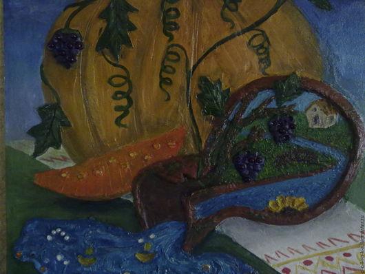 Фантазийные сюжеты ручной работы. Ярмарка Мастеров - ручная работа. Купить Родная Кубань. Handmade. Зеленый, оранжевый, голубой, фиолетовый