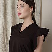 Одежда ручной работы. Ярмарка Мастеров - ручная работа Блузка коричневая с коротким рукавом. Handmade.