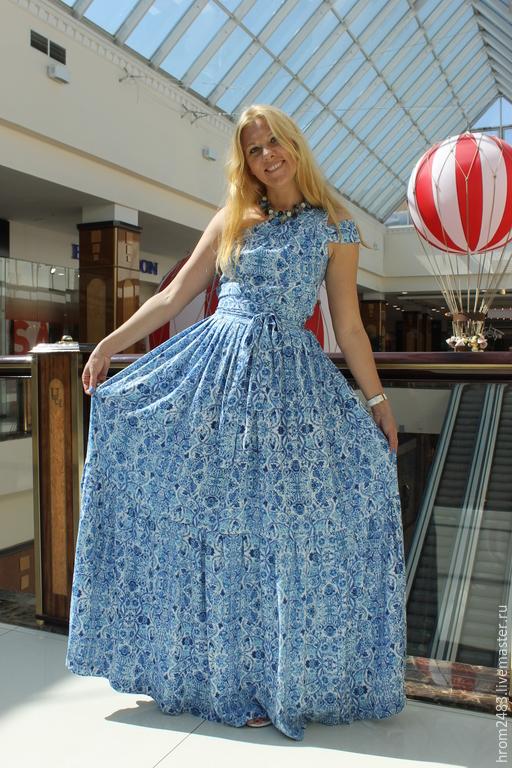 """Платья ручной работы. Ярмарка Мастеров - ручная работа. Купить Летний сарафан """"Чарующая гжель"""". Handmade. Голубой, сарафан"""