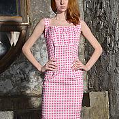 Одежда ручной работы. Ярмарка Мастеров - ручная работа Платье летнее в розовую клетку. Handmade.