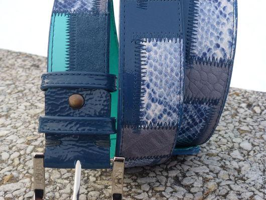 """Пояса, ремни ручной работы. Ярмарка Мастеров - ручная работа. Купить ремень из кожи """"джинсовый стиль 5"""". Handmade. Комбинированный"""