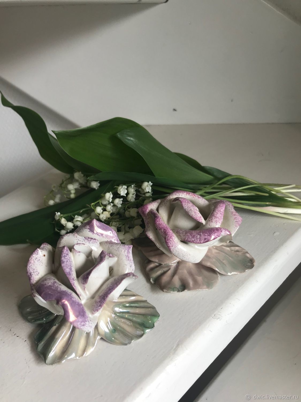Porcelain figurines 'Tea roses', 2 PCs., Holland, Vintage Souvenirs, Arnhem,  Фото №1
