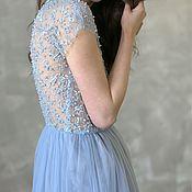 Одежда ручной работы. Ярмарка Мастеров - ручная работа Платье вечернее вышитое бусинами, бисером и пайетками. Handmade.