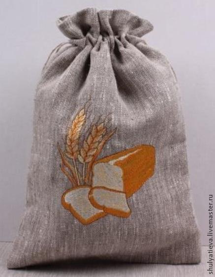 """Кухня ручной работы. Ярмарка Мастеров - ручная работа. Купить Двойной мешочек для хлеба """"Золотистый"""". Handmade. Серый, мешочек для хлеба"""