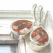 Украшения ручной работы. Ярмарка Мастеров - ручная работа Серьги бежевые капли серебро - красивые с камнями нежные беж. Handmade.