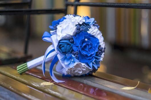 Свадебные цветы ручной работы. Ярмарка Мастеров - ручная работа. Купить Свадебный букет в стиле Гжель. Полимерная глина. Handmade.