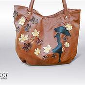 Классическая сумка ручной работы. Ярмарка Мастеров - ручная работа Сумка кожаная женская. Осенняя погода. Handmade.