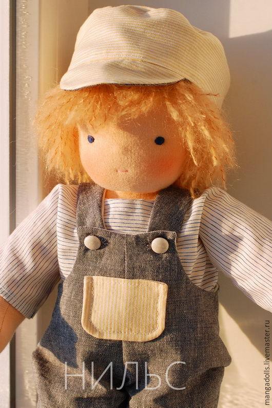 Вальдорфская игрушка ручной работы. Ярмарка Мастеров - ручная работа. Купить Нильс, вальдорфская кукла (35 см). Handmade. Синий