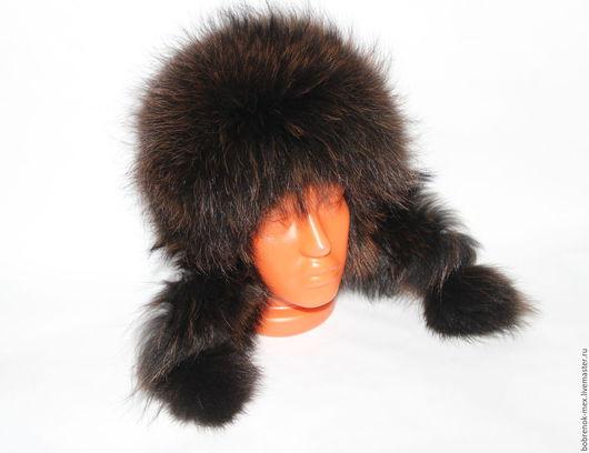 Шапки ручной работы. Ярмарка Мастеров - ручная работа. Купить Меховая шапка ушанка из крашенного енота. Handmade. Разноцветный, ушанка