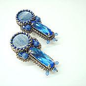 Украшения handmade. Livemaster - original item blue earrings with kyanite and crystal beaded ice queen. Handmade.