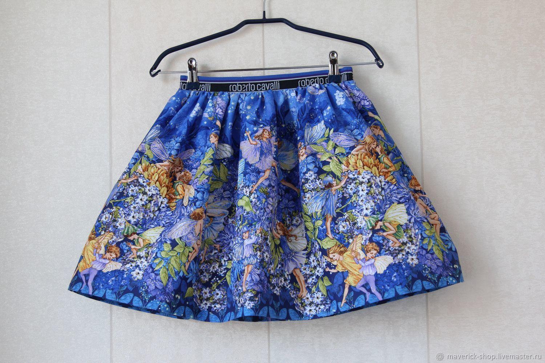 Синяя нарядная  юбка для девочки с феями из американского хлопка