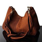 Сумки и аксессуары handmade. Livemaster - original item Brown Suede bag for women, hobo, with twisted handle. Handmade.