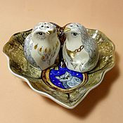 """Посуда ручной работы. Ярмарка Мастеров - ручная работа Набор для специй - солонка и перечница """"Белые совы"""". Handmade."""