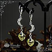 Украшения handmade. Livemaster - original item Heart earrings with Swarovski crystals