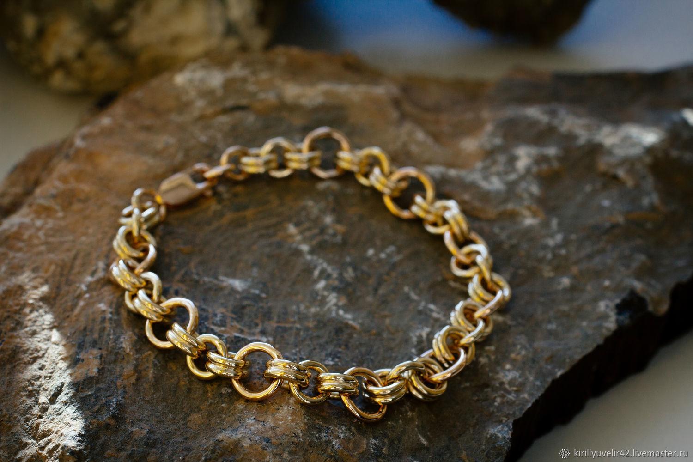 Bracelets of red and lemon gold 585 ring, Chain bracelet, Kemerovo,  Фото №1