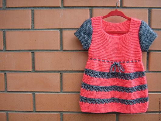 Одежда для девочек, ручной работы. Ярмарка Мастеров - ручная работа. Купить Вязаное платье для девочки. Handmade. Серый, вязаное платье