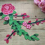 """Аппликации ручной работы. Ярмарка Мастеров - ручная работа Вышитая аппликация """"Веточка с розой"""". Handmade."""