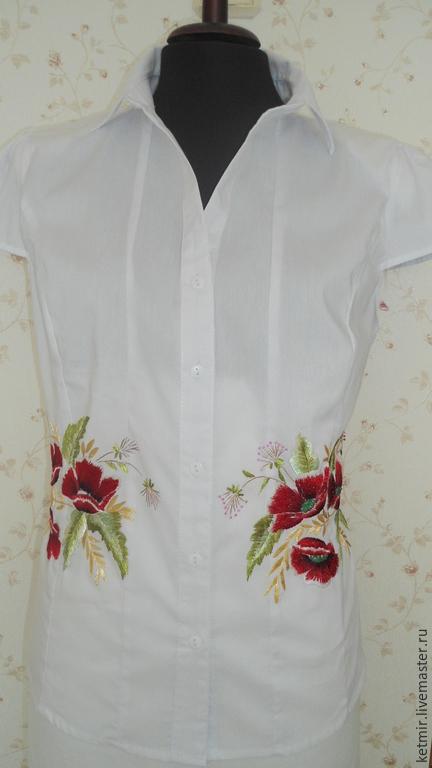 Блузки ручной работы. Ярмарка Мастеров - ручная работа. Купить вышитая шелком блузка. Handmade. Белый