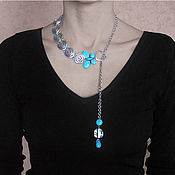 Украшения handmade. Livemaster - original item Asymmetrical necklace-chain with turquoise Voyage. Handmade.