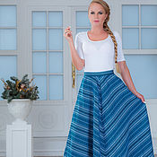 Одежда handmade. Livemaster - original item The skirt is a herringbone blue. Handmade.