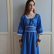 Одежда handmade. Livemaster - original item Dress with hand-printed (painted) in the boho style Fairy Tale blue. Handmade.