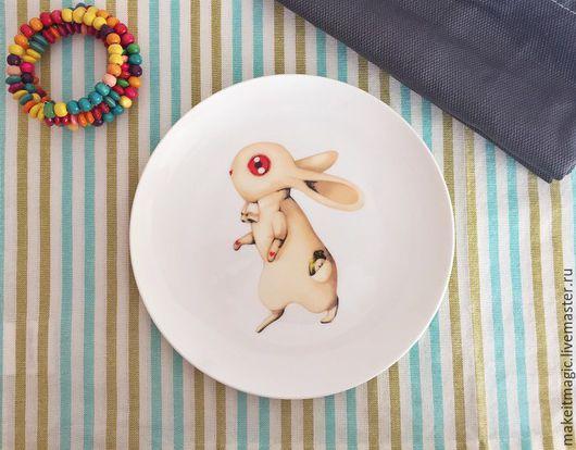 Тарелки ручной работы. Ярмарка Мастеров - ручная работа. Купить Тарелка Белый Кролик. Handmade. Комбинированный, тарелка в подарок, подарок