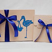 """Подарки к праздникам ручной работы. Ярмарка Мастеров - ручная работа Комплект: коробка под фотографии и конверт для диска """"Аист"""" - СИНИЙ. Handmade."""
