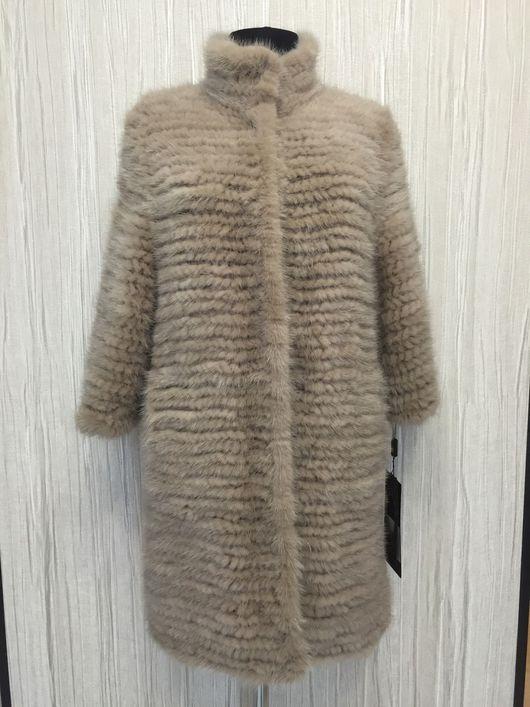 Пальто из вязаной норки «Elena beige 2»