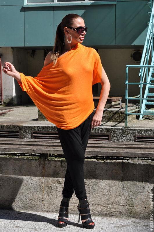 Яркая блузка. Оранжевая блузка. Блузка с короткими рукавами.
