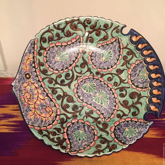 Декоративная посуда ручной работы. Ярмарка Мастеров - ручная работа. Купить керамический поднос в форме рыбы. Handmade. Комбинированный