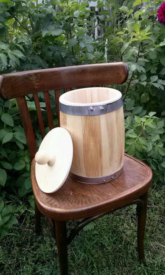 Посуда ручной работы. Ярмарка Мастеров - ручная работа. Купить Бочонок липовый для мёда и сухих продуктов 5л, вощёный. Handmade.