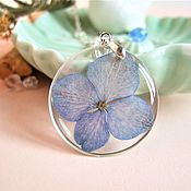 Украшения handmade. Livemaster - original item Transparent Pendant with a Blue Flower Hydrangea Botanica Eco. Handmade.