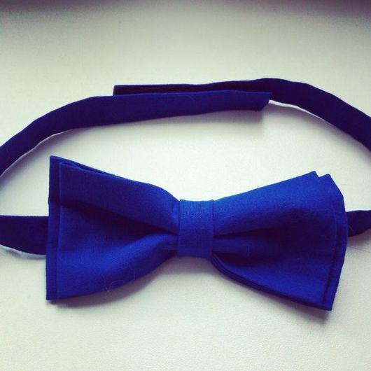 Галстуки, бабочки ручной работы. Ярмарка Мастеров - ручная работа. Купить Синяя галстук-бабочка из хлопка. Handmade. Галстук-бабочка