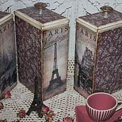 """Для дома и интерьера ручной работы. Ярмарка Мастеров - ручная работа Баночки для чая,кофе"""" Vintage Paris"""". Handmade."""