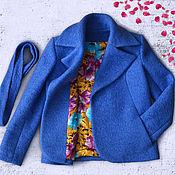 Одежда ручной работы. Ярмарка Мастеров - ручная работа Пальто демисезонное синее. Handmade.