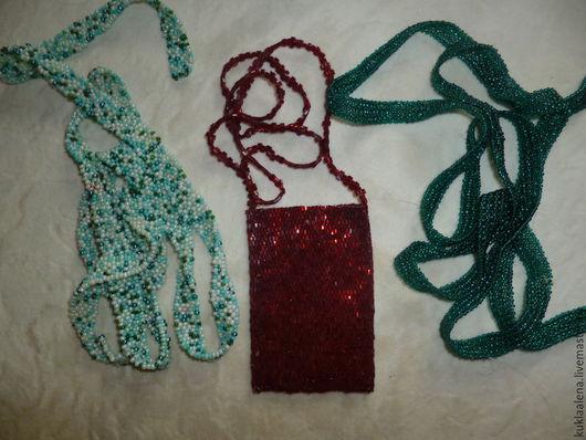 Колье, бусы ручной работы. Ярмарка Мастеров - ручная работа. Купить украшения и сумочка из бисера. Handmade. Разноцветный, лента из бисера