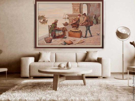 """Люди, ручной работы. Ярмарка Мастеров - ручная работа. Купить Картина маслом """"Венеция"""", Венецианские будни, копия. Handmade. Бежевый"""
