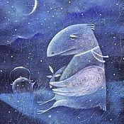 Картины и панно ручной работы. Ярмарка Мастеров - ручная работа Чай с ароматом лунной ночи...Картина-принт на холсте.. Handmade.
