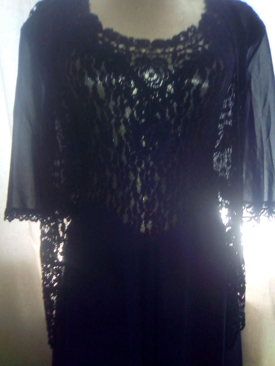 Винтаж: Платье винтажное,новое,шифоновое,тёмно-синее с натуральным гипюром, Одежда винтажная, Софрино,  Фото №1