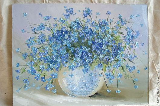 Картины цветов ручной работы. Ярмарка Мастеров - ручная работа. Купить Незабудки в вазе. Handmade. Голубой, картина для интерьера, цветы