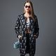 Модель повседневно-делового пальто из ткани высочайшего качества - дизайнерская темно-синяя шерсть  с мохером.AMODAY.